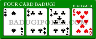 a Four Card Badugi Hand with same high card, higher next-highest card